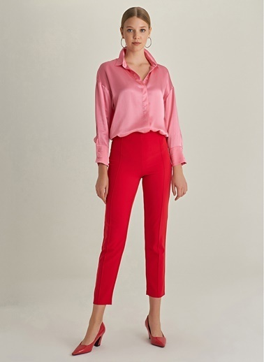 Ng Style Önü Dikiş Detaylı Pantolon Kırmızı